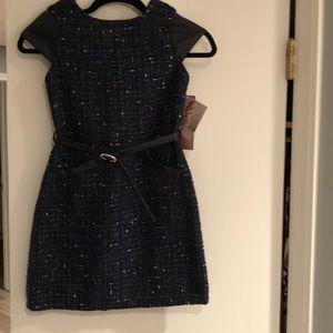 KIDS Navy Bouclé dress
